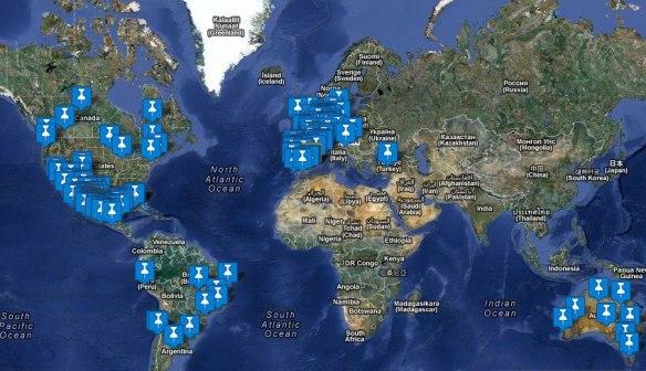 mapa ciudades que convocan manifestación global el 13 de octubre 2012